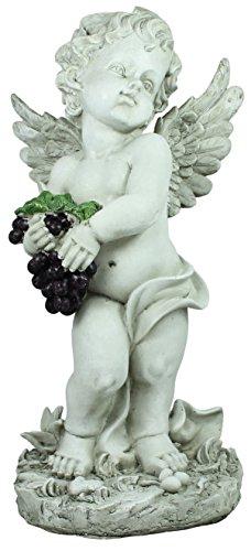 colourliving® Engel met zwarte druiven, decoratieve engel, 45 cm hoog, putte met wijnstok, engelfiguur, decoratief figuur