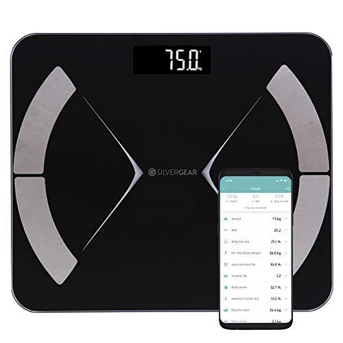 Silvergear Smart Körperfettwaage, Personenwaage Digital, Körperanalysewaage Bluetooth mit App, Waage mit Körperfett und Muskelmasse, BMI, Gewicht, Wasser, Protein, Knochengewicht, BMR, Schwarz