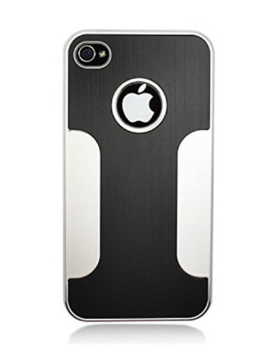 2010KHARDIO AE Luxury Steel Aluminum W/Chrome Snapon Hard Cover Case for iPhone 4 4S 4G Black