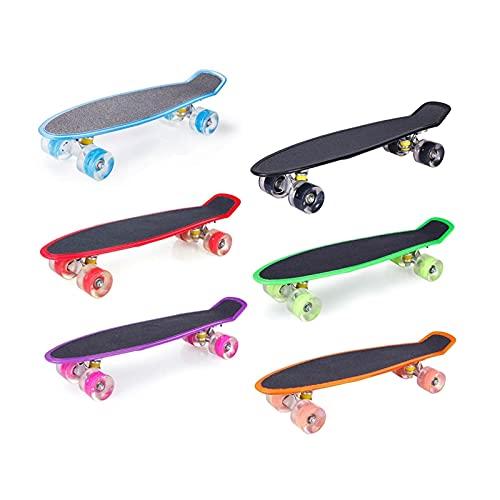 ZHINWEN Monopatín de Longboard, 22 Pulgadas de Pescado Mini Crucero patineta niños niños Intermitente Ruedas Longboard tableros de patín de Pescado patineta patineta (Color : Red)