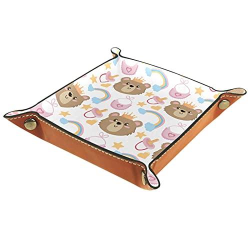 Lovely Baby Bear Pattern-01 - Organizador de bandeja de cuero para aparador, diseño de oso