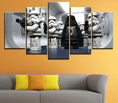 45Tdfc Cuadro Moderno en Lienzo, Conjunto de 5 Piezas para Salon Decoración 80x150 cm Lego Star Wars Droid Tales Arte Pared Fotos Cuadros En Lienzo Lonas De Imprimir Modern Artwork