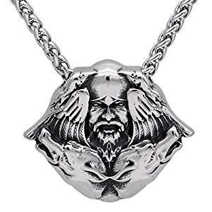 Halskette mit Anhänger (C274), Kopf von Odin, doppelter Rabe/Wolf, Valknut, Steampunk
