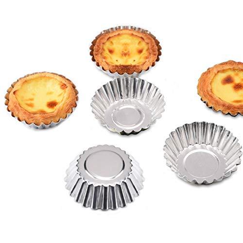 jiele 32 Pcs Acier Inoxydable Moule à Muffin,Moules à Tartelette,Moules de Cuisson Moules Antiadhésif et Réutilisable pour Cupcake Gâteau,Collations,Desserts,Crème Glacée ou de Chocolat Congelés