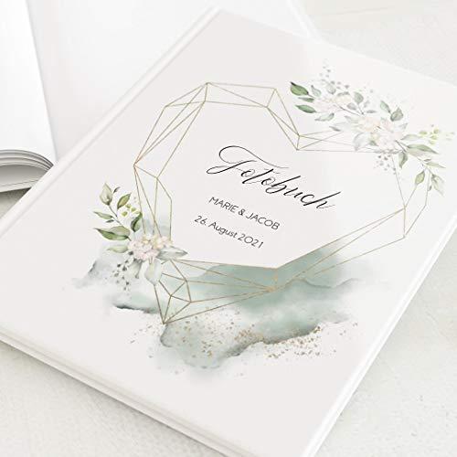 sendmoments Fotoalbum zum Selbstgestalten, Hochzeit, Herz der Liebe, personalisiert mit eigenem Text, Hochformat, 32 leere weiße Seiten oder mehr