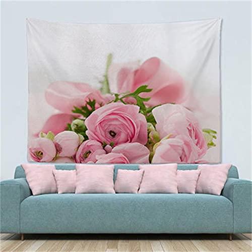 YYRAIN Blaue Blume Bedruckter Wandteppich Wohnzimmer Schlafzimmer Wandbehang Bankett Wanddekoration Stoff Korridor Hängendes Tuch 70x100cm G