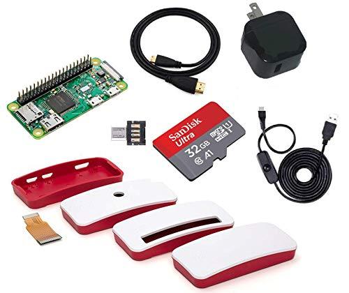 Raspberry Pi Zero WH スターターセット (USB小型電源, 高速型32GB MicroSD, USBスイッチケーブル, ケース, HDMIケーブル, MicroUSB変換付き)