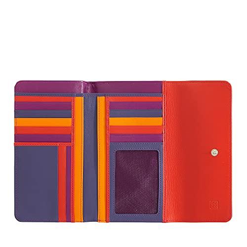 DUDU Portafoglio in pelle morbida grande RFID da donna multicolore Fucsia