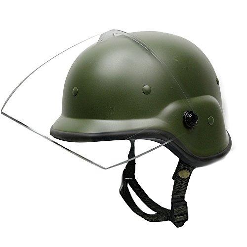 AIRSOFTPEAK Tactical Military Airsoft M88 PASGT Kelver Swat Helmet with Clear Visor, Olive Drab