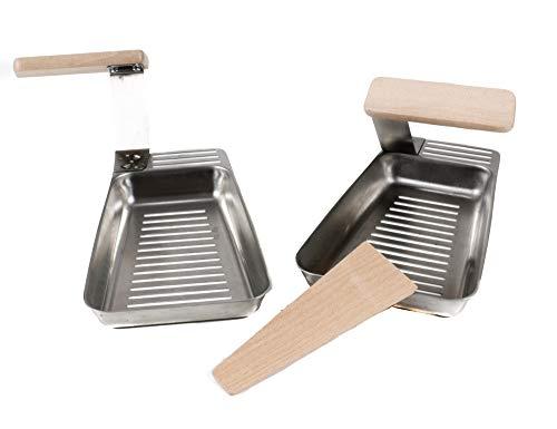 BBQ 2 Grill-Pfannen, Heber mit Holz-Griff, Holz-Spatel, Edelstahl, Gemüsekorb für kleineres Grillgut, ca. 17,8 x 11,5 x 2 cm