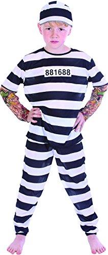 Rire Et Confetti - Fiapri009 - Déguisement pour Enfant - Costume Petit Prisonnier Tatoue - Garçon - Taille S