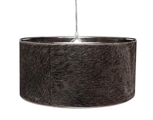 Design hanglamp, koeienhuid, hanglamp, bruin, wit, zwart, grijs, lampenkap, lamp, hanglamp, plafondlamp, rond, brillibrum, flyer