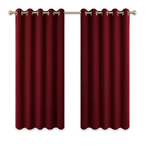 PONY DANCE Tende Oscuranti Decorazione Finestre (L 167 x A 137 cm, Rosso) Tende Drappeggi Termiche Spessi a Occhielli/Tessuti Oscuranti Isolanti Freddo per Finestre Piccole Camera da Letto