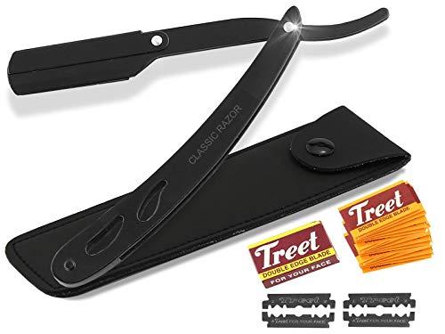 Rasiermesser Wechselklinge Set Stahl inkl. 20 Rasierklingen für eine gündliche Rasur mit Aufbewahrungsetui (Rasiermesser + 20 Wechselklingen)