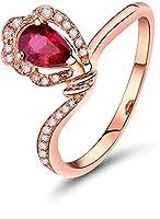 Lanmi K18 ピンクゴールド レディース 人気 天然 ペア カット ルビー 指輪 結婚リング (10)