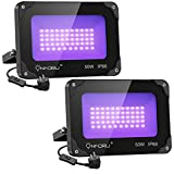 Onforu 2 pezzi 50W Faretto UV LED, Faro UV LED con Spina, IP66 Impermeabile Luce Nera, Fari UV LED Black light Decorare per Acquario, Festa, Pittura Fluorescente, Poster Fluorescente, Bar, Festa