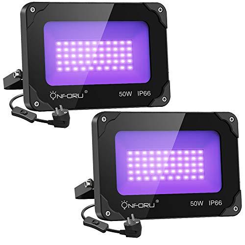 Onforu Lot de 2 Projecteur UV LED 50W, IP66 Imperméable UV L