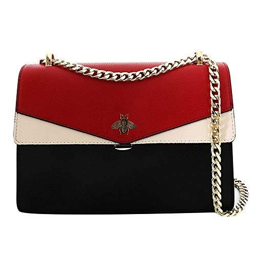 Leder Damentasche Elegante Damenhandtasche One-Shoulder-Bag Kette Tasche Damenmode Handtasche Persönlichkeit kleine quadratische Tasche