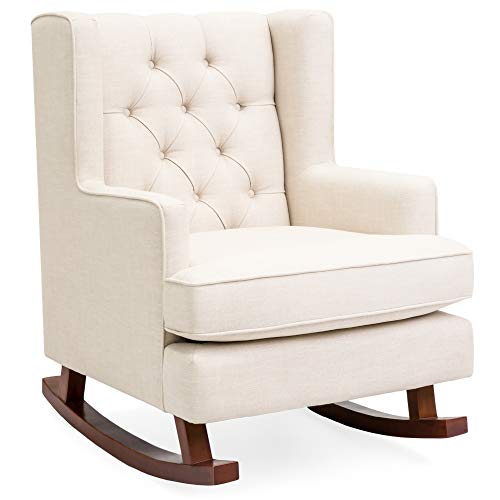 Best Choice Products Rocking Accent Chair, Tufted Upholstered Linen Wingback for Nursery, Living Room, Bedroom w/Wood Frame - Beige