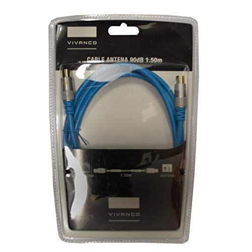 Cable de Antena VIVANCO 43907 Color Azul, 90dB, Longitud 1.5m