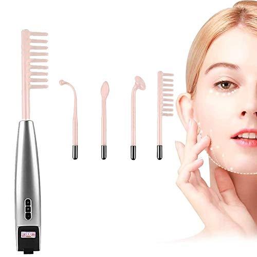 WEON MáQuina Facial De Alta Frecuencia, Belleza Facial Masaje Dispositivo con 4 Barras De NeóN Y ArgóN para El Tratamiento del Acné, Estiramiento De La Piel Y ReduccióN De Arrugas