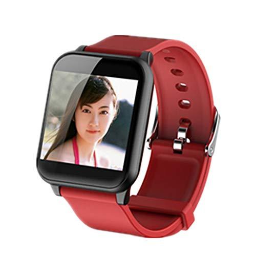 AIFB Smartwatch, Herzfrequenz-Monitor, wasserdicht, Schlaf-Tracker, Schrittzähler, Alarm, Fitness-Tracker, Benachrichtigung, Push-für Android iOS Handy, rot, Einheitsgröße