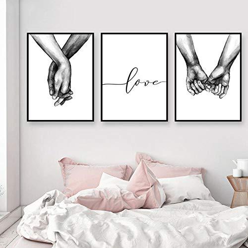 WENJING Zwarte en witte handdoeken wandkunst canvas modulair schilderij Nordic poster canvas liefhebbers 50 x 70 cm x 3 stuks geen lijst