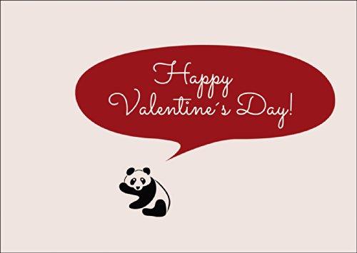 Grappige Valentijnskaart met Panda: Happy Valentine's Day! • Ook voor direct verzenden met uw persoonlijke tekst als inlegger. • Fijne wenskaart met envelop voor lieve woorden