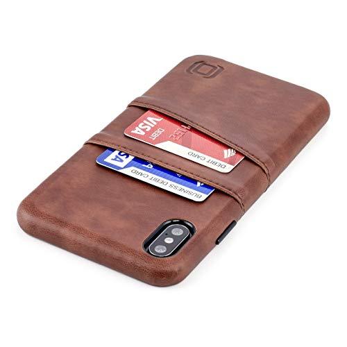 Dockem Exec M2 Funda Cartera para iPhone XS MAX: Funda Tarjetero Slim con Placa de Metal Integrada para Soporte Magnético: Serie M [Marrón]