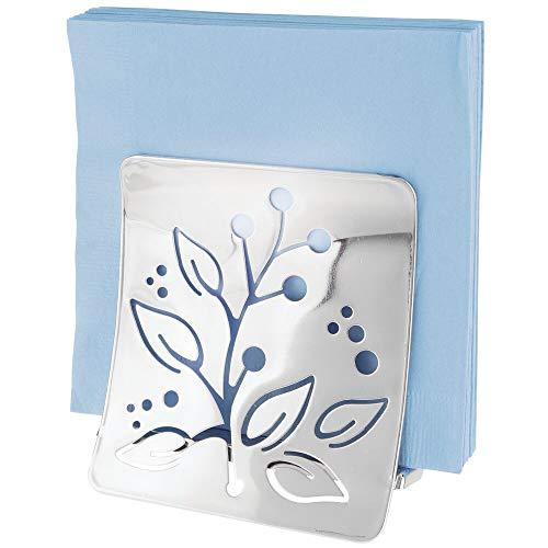 mDesign Elegant Napkin Holder – Modern Table Decoration for The Dining or Kitchen Table – Metal Napkin Dispenser with Floral Pattern – Chrome