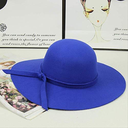 LGYJAL Damen Herbsthüte Mode Zylinder Herbst Und Winter Modelle Sonnenschutz Eingebauter Einstellgurt in Einheitsgröße Königsblau