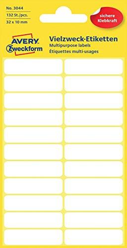 Avery Zweckform 3044 Haushaltsetiketten selbstklebend (32x10mm, 132 Aufkleber auf 6 Bogen,Vielzweck-Etiketten für Haushalt, Schule und Büro zum Beschriften und Kennzeichnen) blanko, weiß