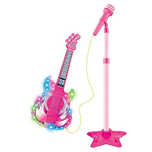Guitarra Infantil Com Microfone Pedestal Rock Show Toca MP3 Com Luz e Som