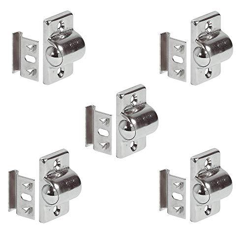 Gedotec Rollenschnäpper Kugelschnapper Tür-Verschluss für Holz Möbeltüren & Schrank-Türen | Stahl vernickelt | Möbel-Türschnapper mit Gegenstück | 5 Stück - Schnäpper rund zum Schrauben