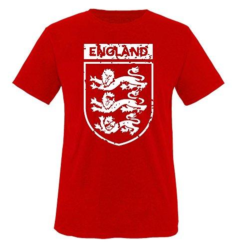 EM 2016 - England - Wappen - Vintage - Herren T-Shirt - Rot/Weiss Gr. XL