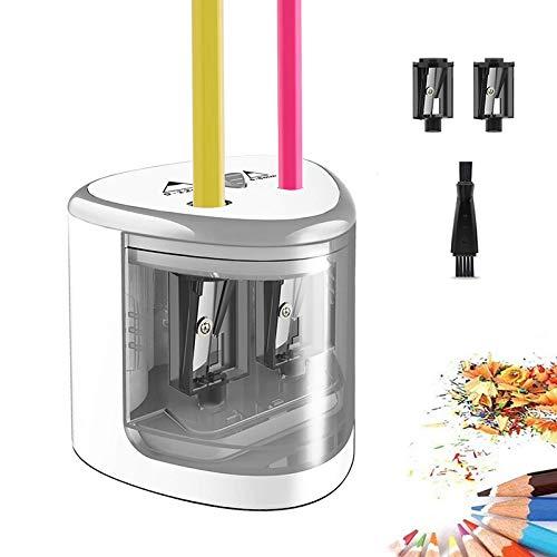 TOPERSUN Taille-Crayon Électrique pour Enfant avec Double Trous 6-12mm Alimenté par 4 Piles AA pour Dessin Bureau Classe et Famille