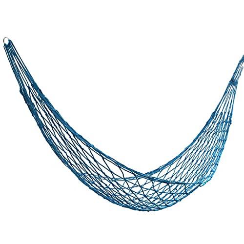 Hamaca 1 unids Nylon portátil malla hamaca colgante cama dormir Swing viaje al aire libre camping azul 260x80cm