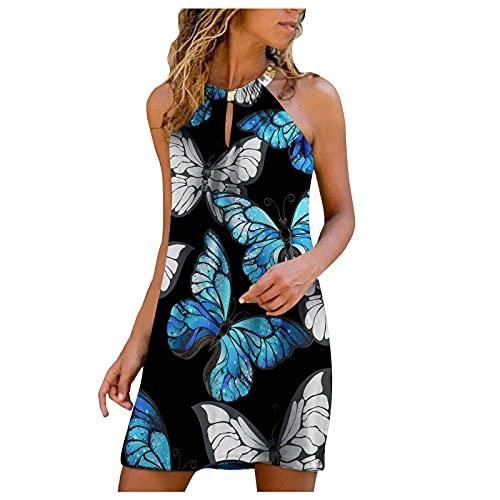 Sexy ärmellos Kleid Damen Sommerkleid,Exquisiter Blumen Druck Freizeitkleid Rundhals Halfter Shirtkleid T-Shirt Bluse Tunika,Lose Casual Tops Minikleid