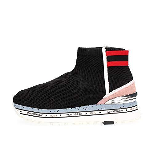 Liu Jo Shoes Damen Maxi Alexa 4-Elastic Sock Sneaker, Schwarz (Black 22222), 36 EU