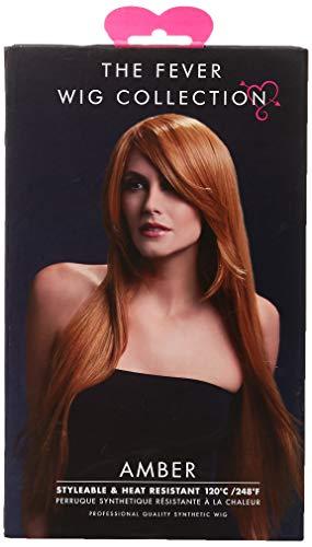 Smiffys Perruque Amber collection Fever, châtain, coupe longue et lisse avec frange effi