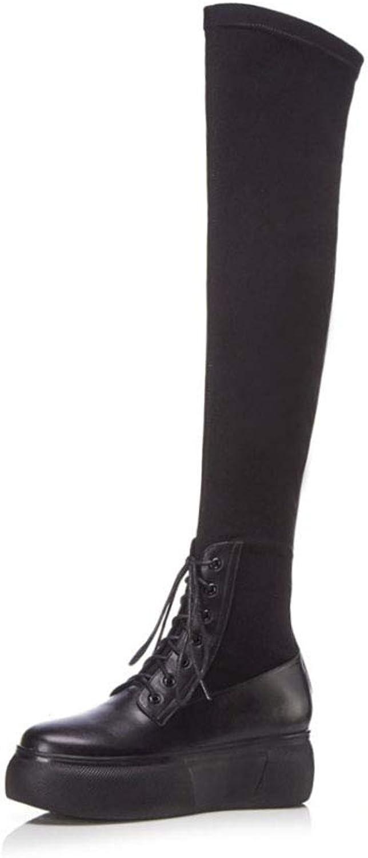 YAN Damen Stiefel Frühling & Herbst über das Knie Stiefel Extra Lange Stiefel Mode Schnürschuhe Plateauschuhe Party & Abendkleid Schuhe