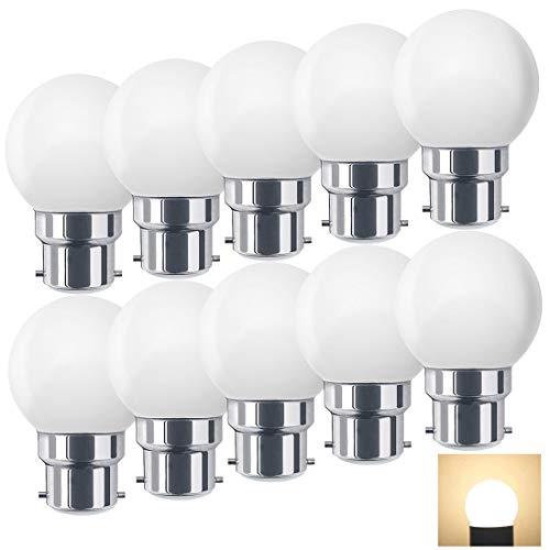 Suncan Ampoules baïonnette B22 - Paquet de 10 ampoule LED Feston 1 W (équivalent 10W), Blanc chaud 2700K,petites ampoules de Noël PC Cap,10er Pack
