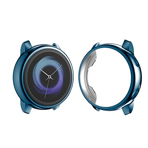 Turnwin Screen Protector Compatible with Samsung Galaxy Watch Active (40mm) Case, Soft TPU Plated Protective Cover Ultra-Thin Bumper Frame Compatible with Galaxy Watch Active (Blue)
