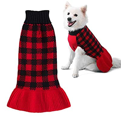 ZIFEIPET Dog Sweater Dress Turtleneck Dog Knitwear Sweater for Cats Small Dogs Cute Plaid Pullover Knit with Leash Hole Pet Dog Fall Winter Warm Clothes