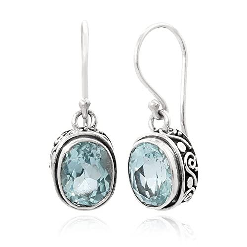 Shadi, étnico - Pendientes artesanales de plata con topacio azul natural (joyería de plata artesanal, bizantinos, borobudur - regalo - mujer - hombre - Navidad - Reyes - cumpleaños)