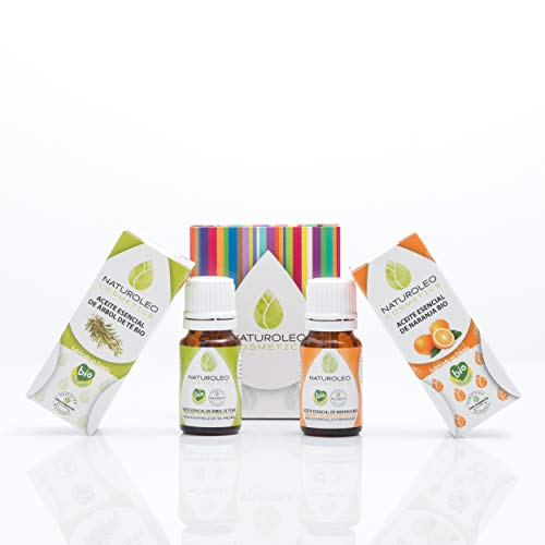 Naturoleo Cosmetics - Árbol de Te BIO + Naranja BIO - Pack Aceites Esenciales 100% Puros Ecologicos Certificados - 10 ml + 10 ml