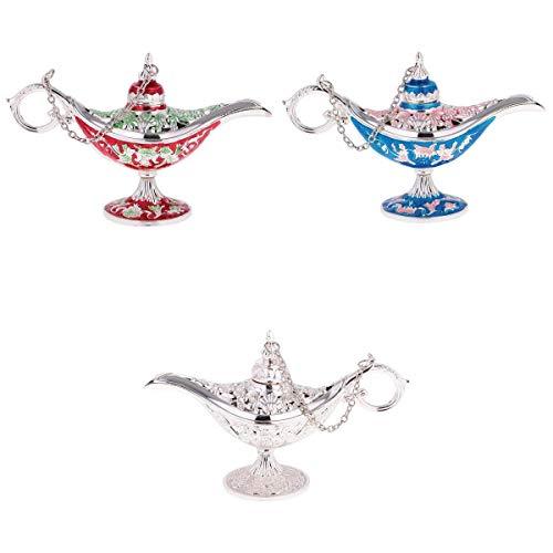 joyMerit 3Pcs Hollow Flower Zinc Alloy Genie Lamp Jewelry Box Storage Gifts