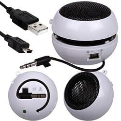 FoneCase HTC One V Mini Capsule Rechargable Loud Speaker 35mm Jack To Jack Input (White)