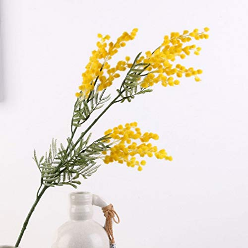 miaomiao Flores Artificiales 86cm 3 Ramas Artificial Acacia Yellow Mimosa Spray Fake Silk Flower Wedding Party Event Decor Red Bean Plant For X'Mas