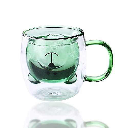 JSBVM Taza Linda Taza de café Taza de té Vasos Vasos con asa se Puede Calentar, Aislamiento de Doble Pared Taza de café Taza de Leche, 250ML,Verde